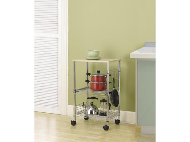3 Tier Chrome Wire Rolling Kitchen Cart Utility Food