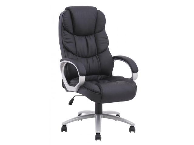 BestMassage High Back Leather Executive Office Desk Task Computer Chair  W/Metal Base   Black