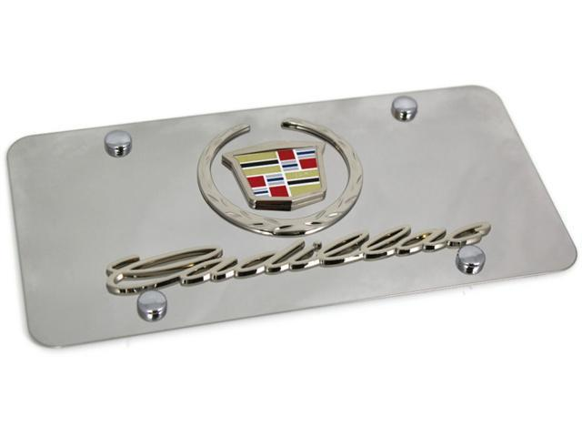 Chrome Wreath Cadillac Logo Front License Plate Frame Stainless.  Mirror Steel 3D D.CAD.2.CC