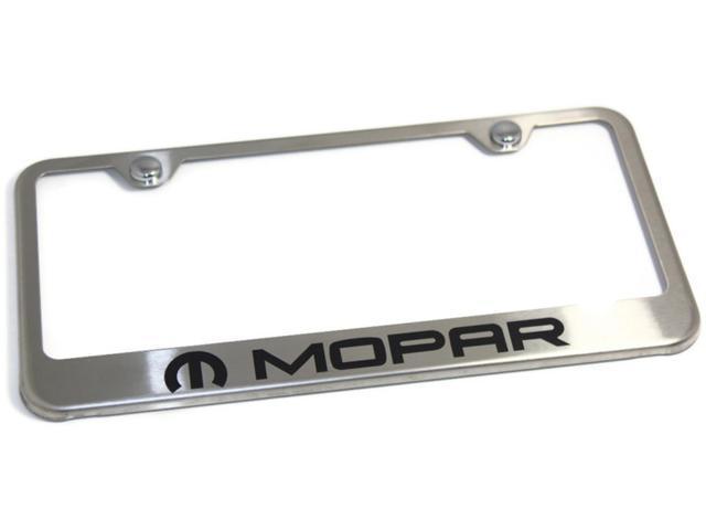 dodge mopar logo brush stainless steel license plate frame metal srt 4 lfmop - Dodge License Plate Frame