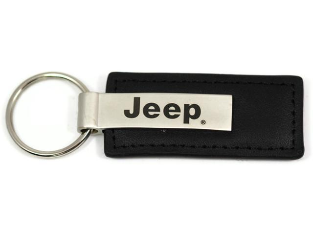 Jeep Name Logo Black Leather Keychain Metal AUTHENTIC Key Ring Lanyard KC1540.JEE