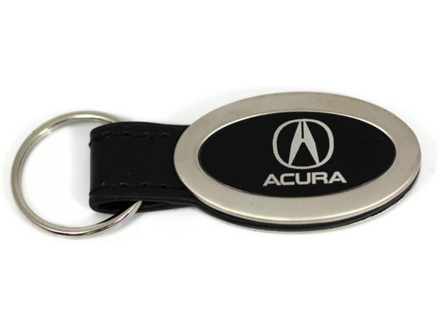 Acura Logo Emblem Keychain Black Leather Chrome Key Fob Metal Key Ring Lanyard KC3210.ACU