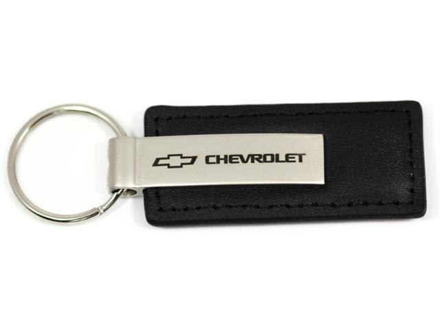 Chevrolet Logo Keychain BLACK LEATHER Chrome Key Fob Metal Keyring Chevy KC1540.CHV