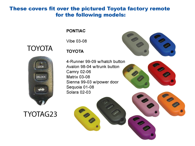 Red Silicone Key Fob Cover Case Smart Remote Pouches Protection Key Chain Fits: Toyota Sienna 99-03 w/power door