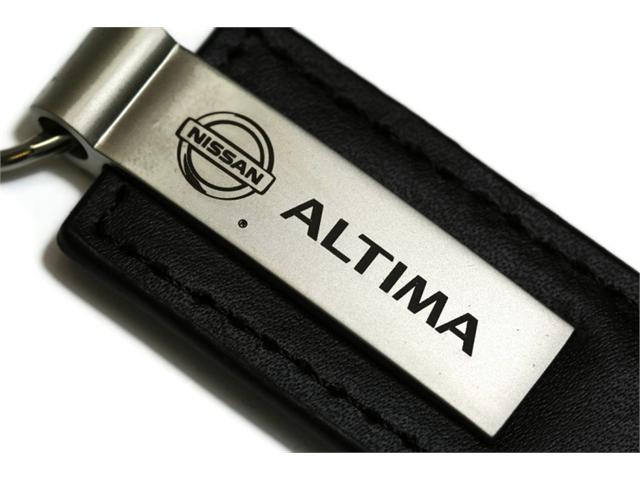 Nissan Altima Black Leather Key Fob Authentic Logo Key Chain Key Ring Keychain Lanyard KC1540.ALT