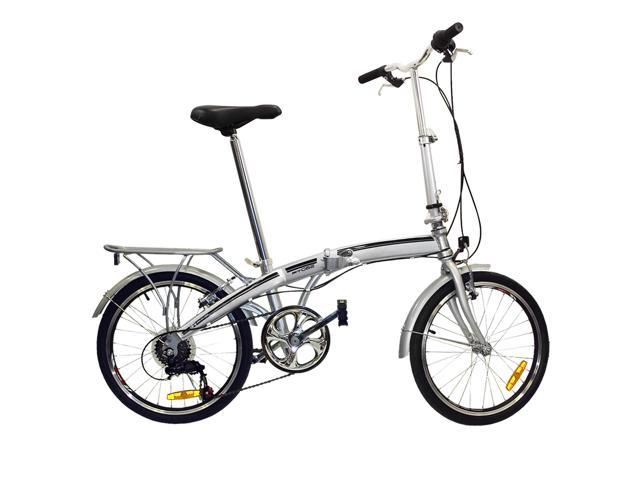 """BestChoiceProducts SKY407 20"""" Shimano 6 Speed Folding Storage Bicycle - Silver"""