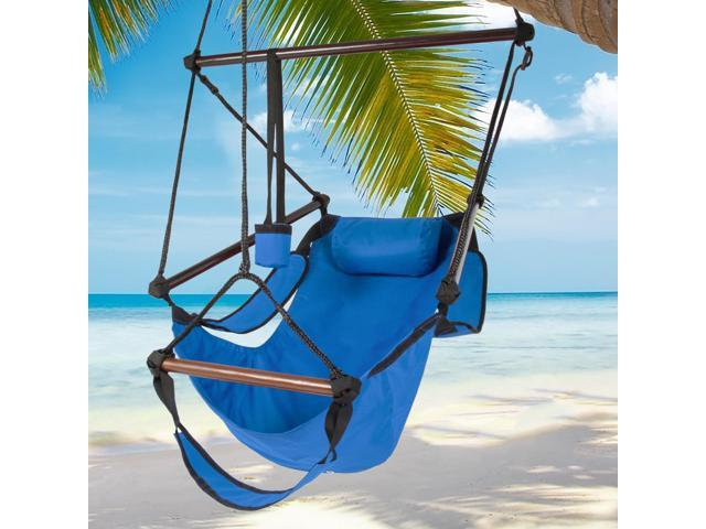 Hammock Hanging Chair Air Deluxe Sky Swing Outdoor Chair Solid Wood 250lb Blue