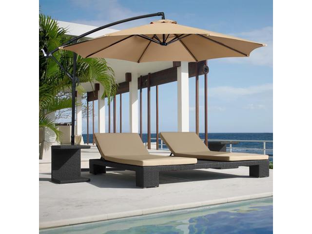 10' Hanging Patio Umbrella Offset (Tan)
