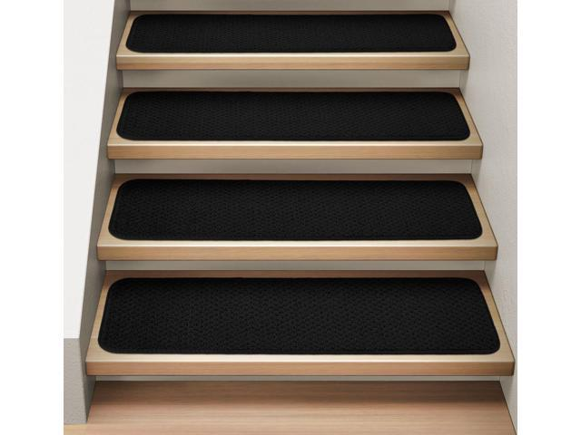 Set of 15 Attachable Indoor Carpet Stair Treads - Black - 8 In. X 27 In.