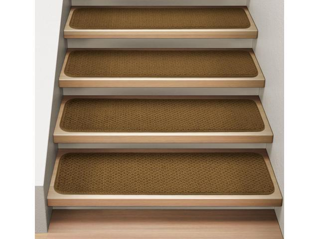 Set of 15 Attachable Indoor Carpet Stair Treads - Bronze Gold - 8 In. X 27 In.