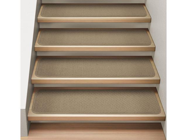 Set of 15 Attachable Indoor Carpet Stair Treads - Camel Tan - 8 In. X 27 In.