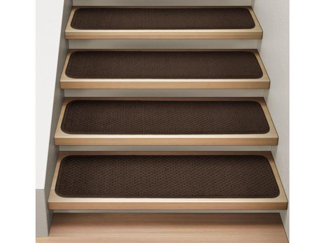 Set of 15 Attachable Indoor Carpet Stair Treads - Chocolate Brown - 8 In. X 23.5 In.