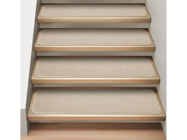 Set of 12 Attachable Indoor Carpet Stair Treads - Ivory Cream - 8 In. X 30 In.
