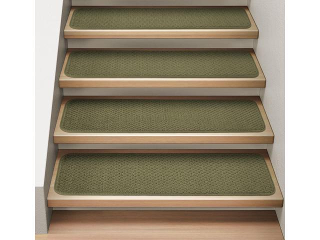 Set of 15 Attachable Indoor Carpet Stair Treads - Olive Green - 8 In. X 30 In.