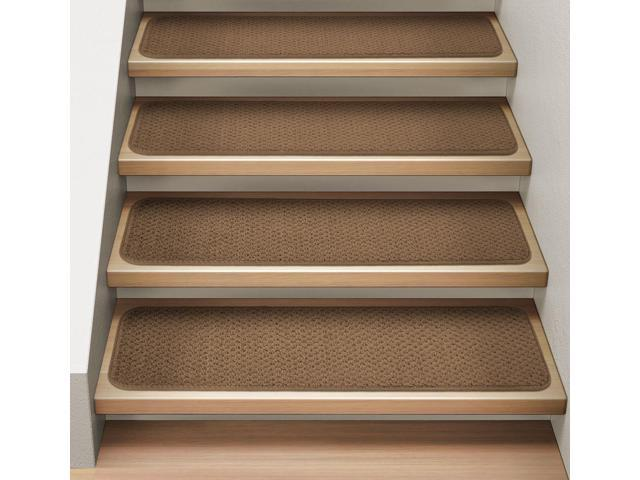 Set of 12 Attachable Indoor Carpet Stair Treads - Toffee Brown - 8 In. X 27 In.