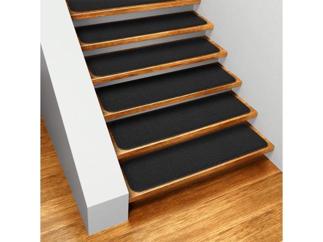 Set of 12 Skid-resistant Carpet Stair Treads - Black - 8 In. X 30 In.
