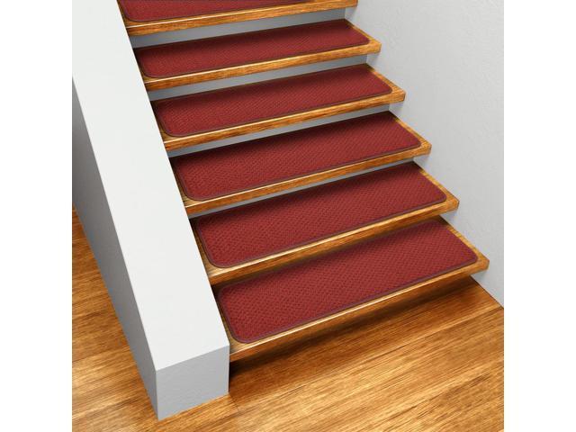Set of 12 Skid-resistant Carpet Stair Treads - Brick Red - 8 In. X 27 In.