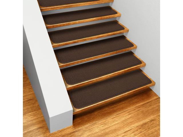 Set of 12 Skid-resistant Carpet Stair Treads - Chocolate Brown - 8 In. X 30 In.