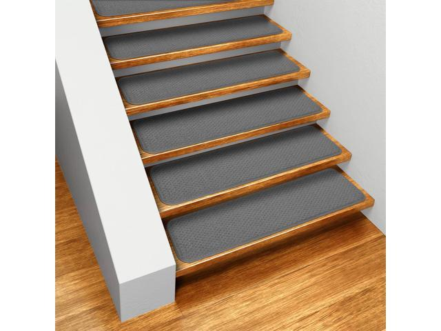Set of 12 Skid-resistant Carpet Stair Treads - Gray - 8 In. X 27 In.