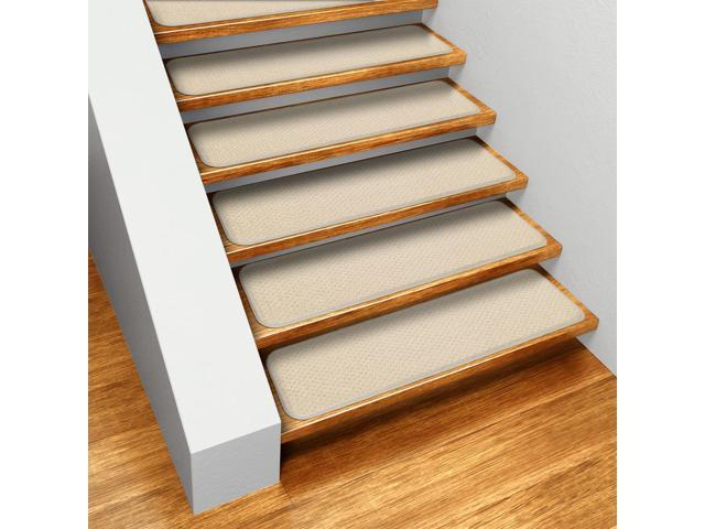 Set of 12 Skid-resistant Carpet Stair Treads - Ivory Cream - 8 In. X 23.5 In.