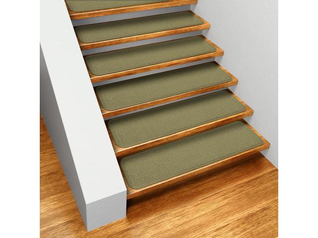 Set of 15 Skid-resistant Carpet Stair Treads - Olive Green - 8 In. X 27 In.