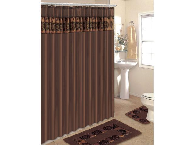 Home Dynamix Home Design Shower Curtain And Bath Rug Set HE15SD Dotted Circl