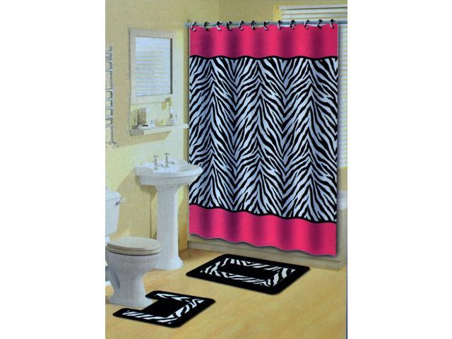 Home Dynamix Bath Boutique Shower Curtain and Bath Rug Set: 341-277 Pink-Black: 15 Piece Bath Set