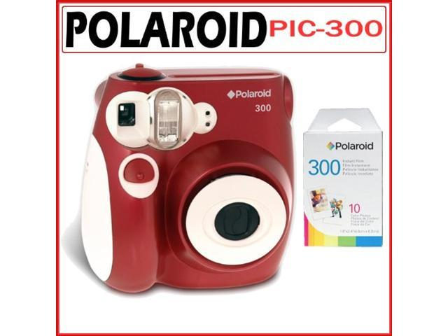 Polaroid PIC-300R Instant Camera in Red With PIF-300 Instant Film