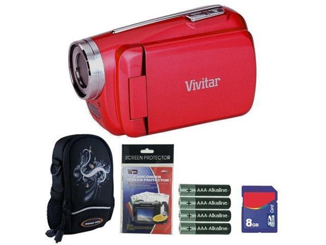 Vivitar DVR508 Strawberry Red Digital Video Camera Camcorder 8GB Kit