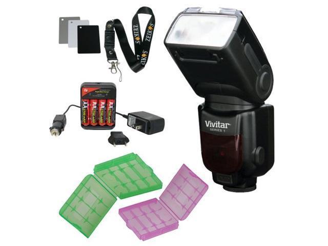 Vivitar Power Zoom 18-180mm Wireless TTL LCD Flash for CANON i-TTL Digital SLR Cameras with Digital Grey Card Set and Batteries Bundle