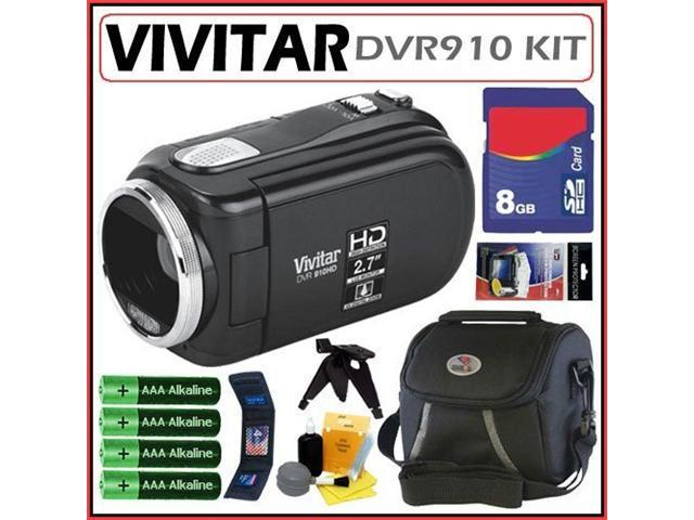 Vivitar DVR910 HD Camcorder in Black + 8GB Accessory Kit