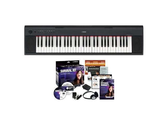 Yamaha NP11 61 Key Portable Keyboard + Electronic Keyboard Survival Kit 1B