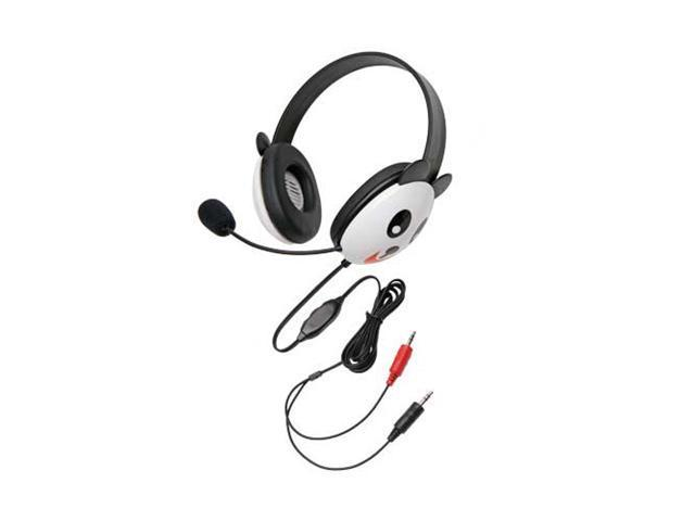Children's Listening First Stereo Headset with Dual 3.5mm Plugs and Microphone - Panda Design