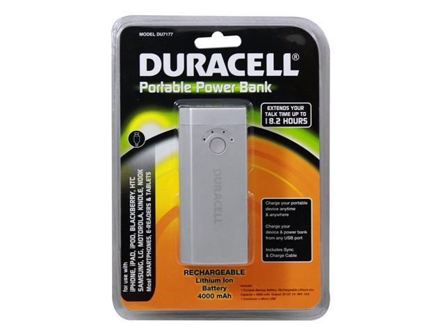 DURACELL Portable Power Bank & AC Charger (4000 mAh) Battery Charger for use with iPhone, iPad, iPod, BlackBerry, Samsung, LG, Motorola, Kindle, Nook, Most SmartPhones, E-Readers and Tablets (SILVER)