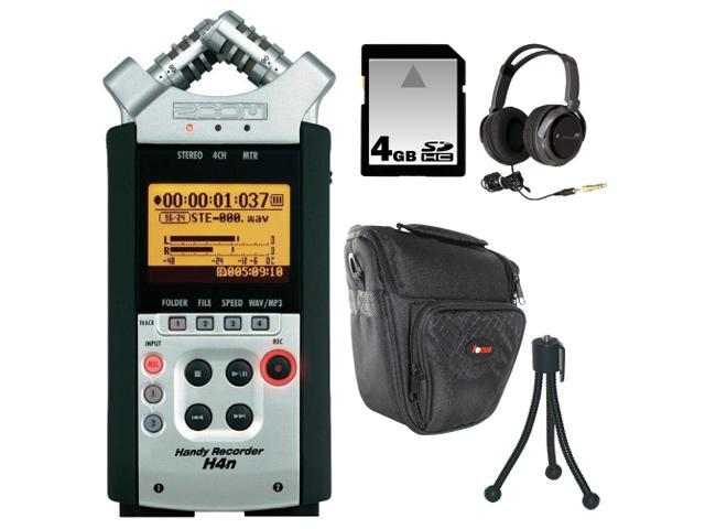 Zoom H4n Handy Recorder Bundle with 4GB SDHC Card, RC-4 Remote, Headphones, Mini Tripod, and Hard Case