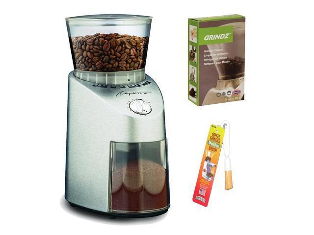 Capresso 565.05 Infinity Stainless Steel Conical Burr Grinder + Grindz Grinder Cleaner + Harold Import GB-260 Coffee Grinder Dusting Brush