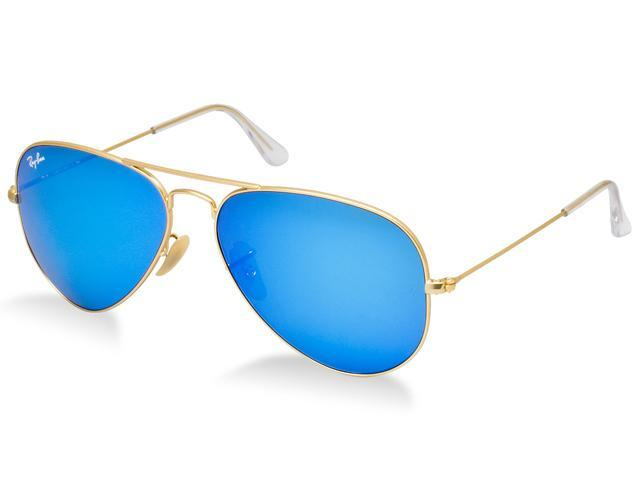 ray ban aviator black frame blue lens  Ray Ban RB3025 Aviator Flash Metal Sunglasses - Gold Frame/Blue ...