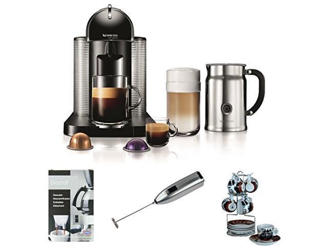 Nespresso VertuoLine Coffee and Espresso Maker with Aeroccino Plus Milk Frother (Black) plus Set ...