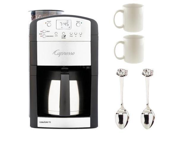Capresso Coffeeteam 10 Cup Thermal Digital Coffeemaker + 2 Cappuccino Cup/Spoon Sets