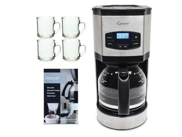 Capresso SG120 12-Cup Stainless Steel Coffee Maker + 4 Pieces 10 oz. ARC Handy Glass Coffee Mug + Urnex Dezcal Home Activated Coffee/Espresso Descaler