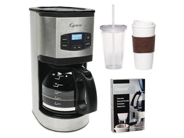 Capresso 49405 SG120 12-Cup Stainless Steel Coffee Maker + Coffee Mug & Iced Beverage Cup + Coffee/ Espresso Descaler