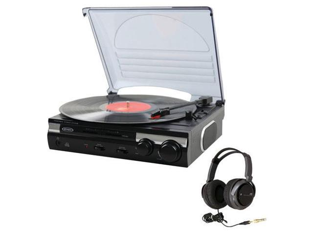Jensen JTA-230 3-Speed Stereo Turntable with Built-In Speakers + Full-Size Headphones (Black)