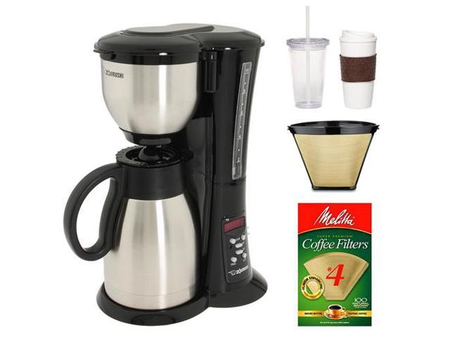Zojirushi EC-BD15 Fresh Brew Stainless Steel 10-cup Thermal Carafe Coffee Maker with #4 Cone Permanent Coffee Filter, Natural ...