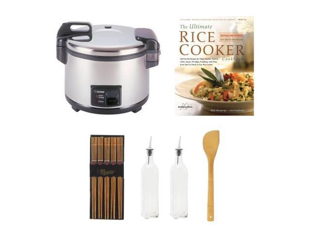 Zojirushi NYC-36 20-Cup Commercial Rice Cooker & Warmer Bundle with Cookbook + Silk Wrapped Chopsticks +  2 Oil & Vinegar Bottles + Bamboo Spatula Spoon