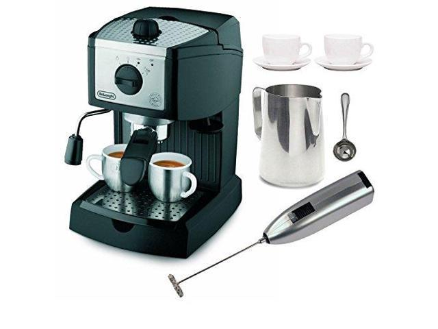 DeLonghi EC155 15 BAR Pump Espresso and Cappuccino Maker with Coffee Measure, Milk Frother, Two ...