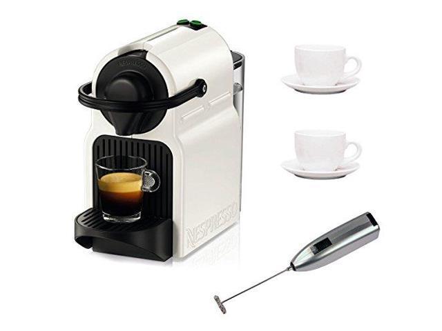 Nespresso C 40 Inissia Espresso Maker (White) plus Coffee Maker Bundle  Newe # Nespresso Inissia Bundle