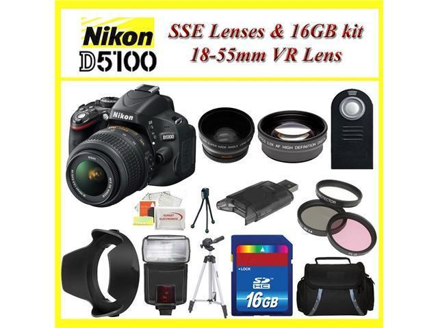 Nikon D5100 Digital SLR Camera with Nikon 18-55mm VR Lens + Huge Bundle