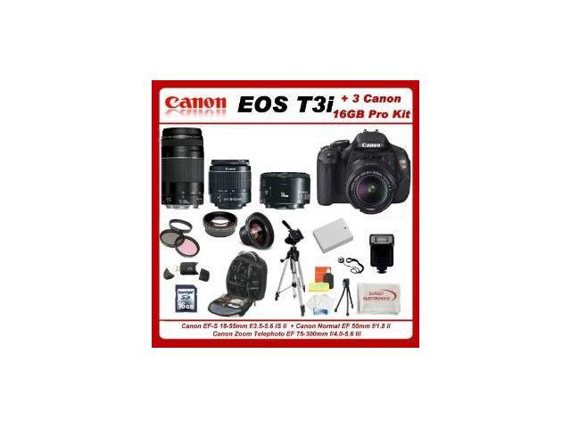 Canon EOS Rebel T3i Digital 18 MP CMOS SLR Camera Body (600D)W/ 5 Extra Lens+3 Piece Filter Kit+1 Battery and charger +16gb Sdhc Memory Card + Soft Carrying Cases + Tripod & Much More