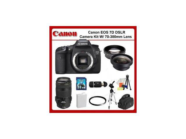 Canon EOS 7D Digital SLR Camera Kit with 70-300mm Lens +  0.45X Wide Angle Lens, 2X Telephoto Lens, UV Filter, 32GB Memory Card & MORE!!