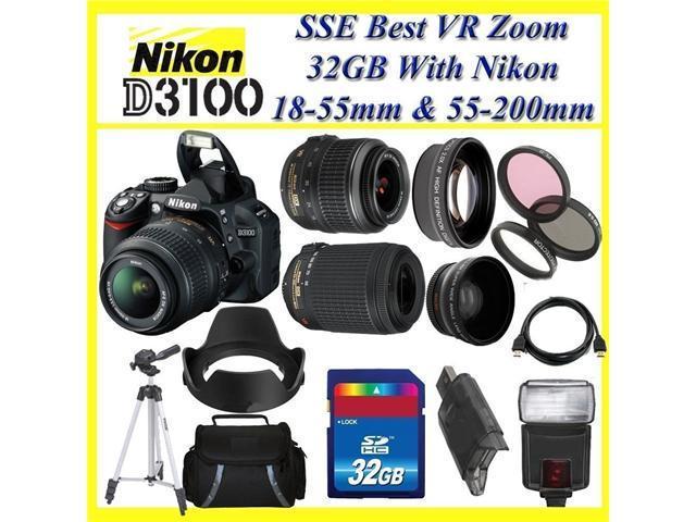 Nikon D3100 Digital SLR Camera Kit w/ 18-55mm Lens + 55-200mm lens (Professional Starter Kit)